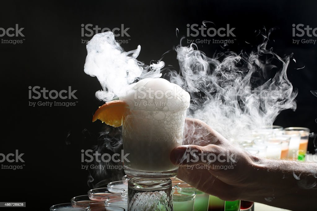 Cocktail with smoke stock photo
