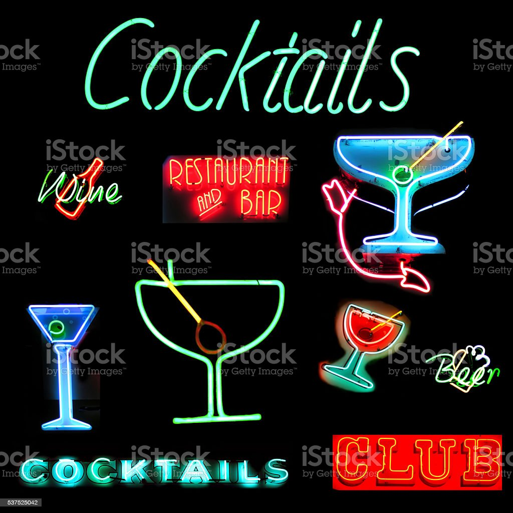 Cocktails Collage Neon Sign stock photo