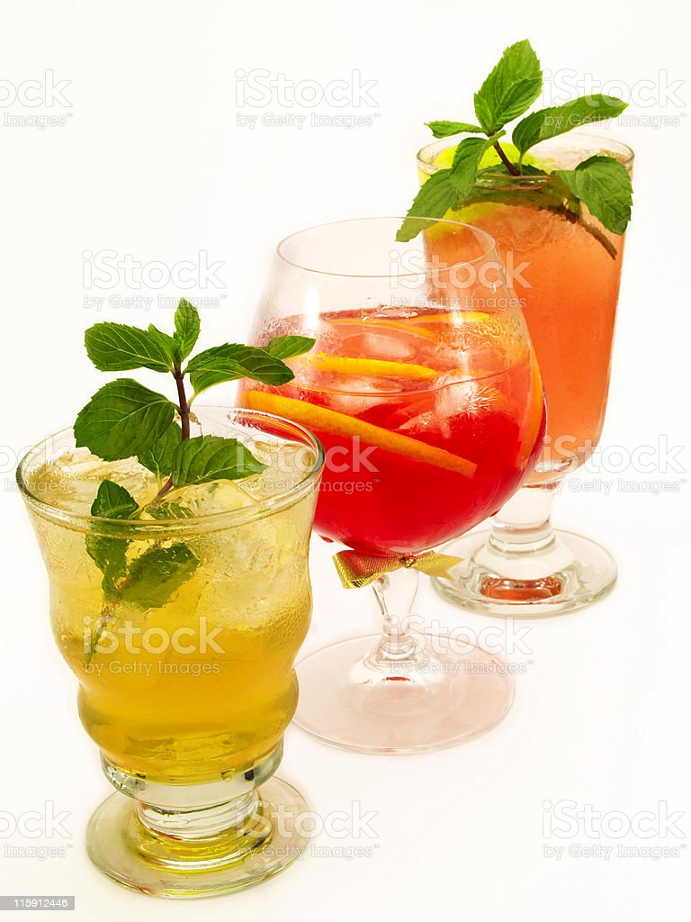 Cocktails Collection - threesome: Canadian, Negroni, Mai Tai royalty-free stock photo