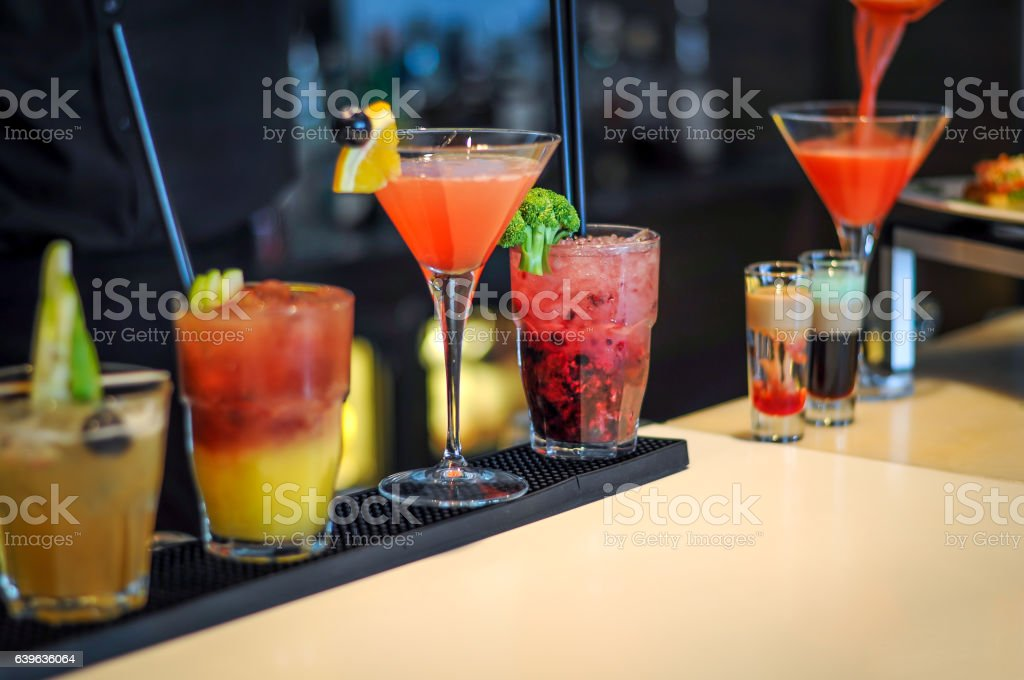 Cocktails drinks on bar stock photo