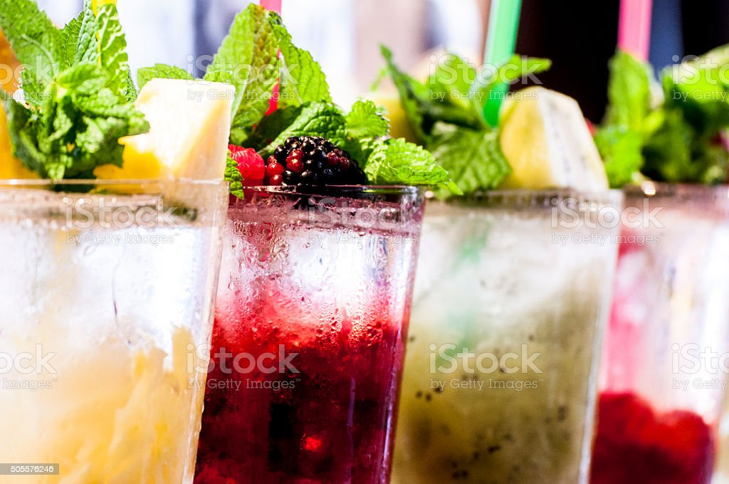 cocktails in line stock photo
