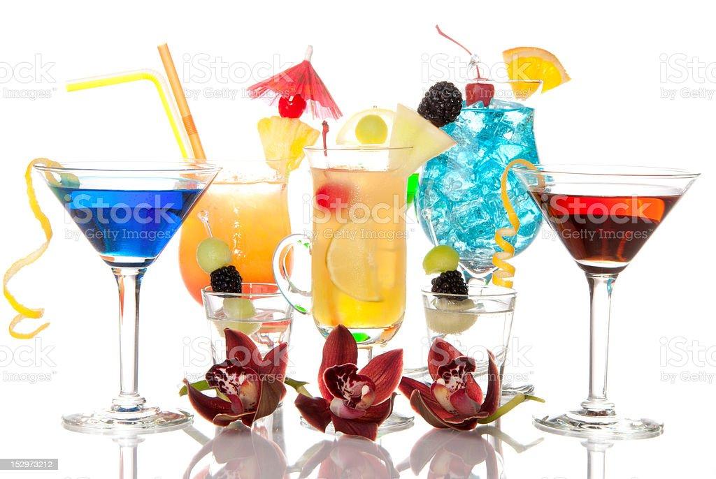 Cocktails Martini Tequila sunrise, vodka, blue hawaiian royalty-free stock photo