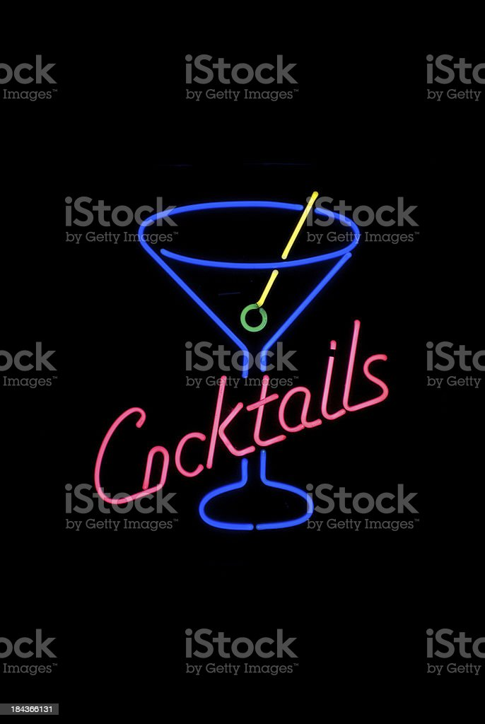 Cocktails Message Cocktail Glass in Neon stock photo