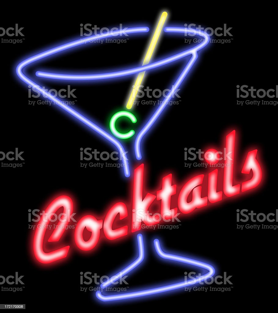 Cocktails neon stock photo