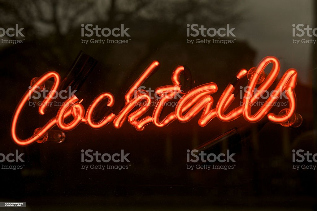 cocktails neon sign red stock photo