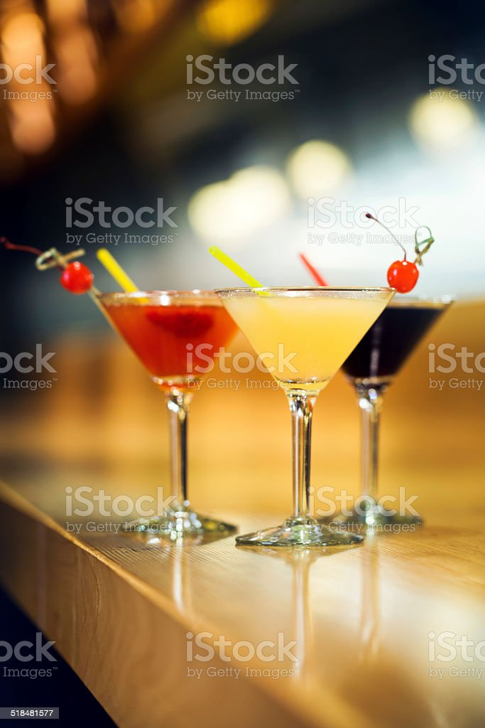 Cocktails on a bar stock photo