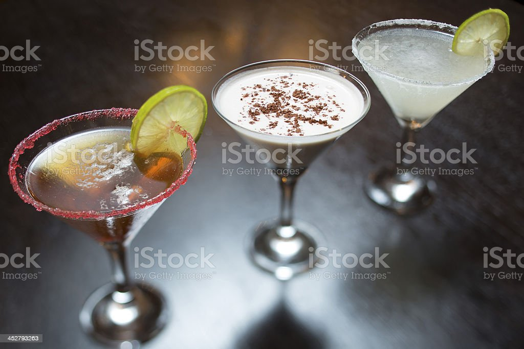 cocktails on black table royalty-free stock photo