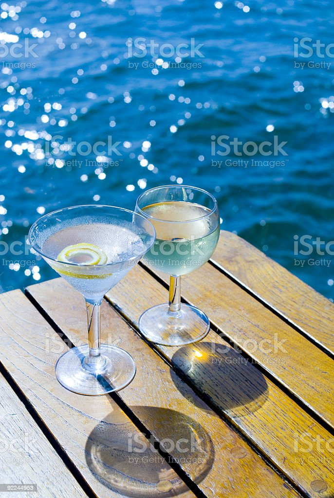 Cocktails on the Bay stock photo
