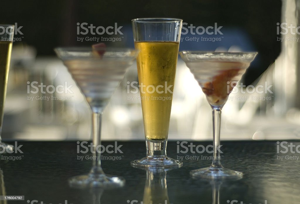 Cocktails On The Deck royalty-free stock photo