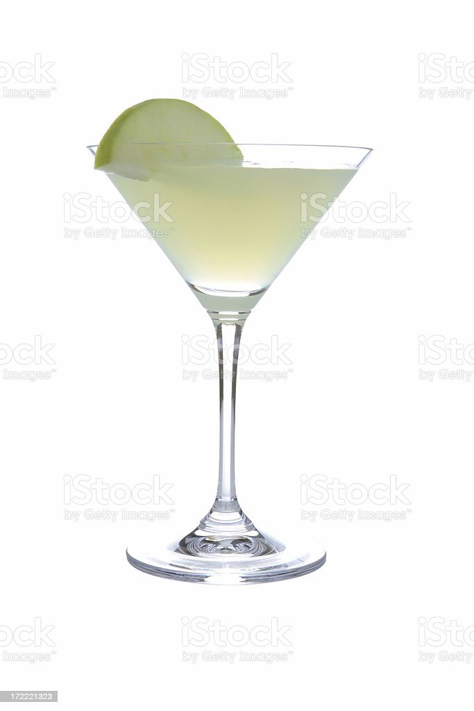 Cocktails on white: Appletini. stock photo