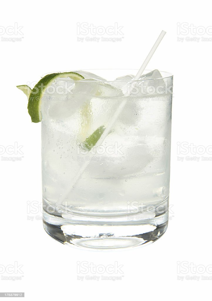 Cocktails on white: Gin and Tonic. royalty-free stock photo