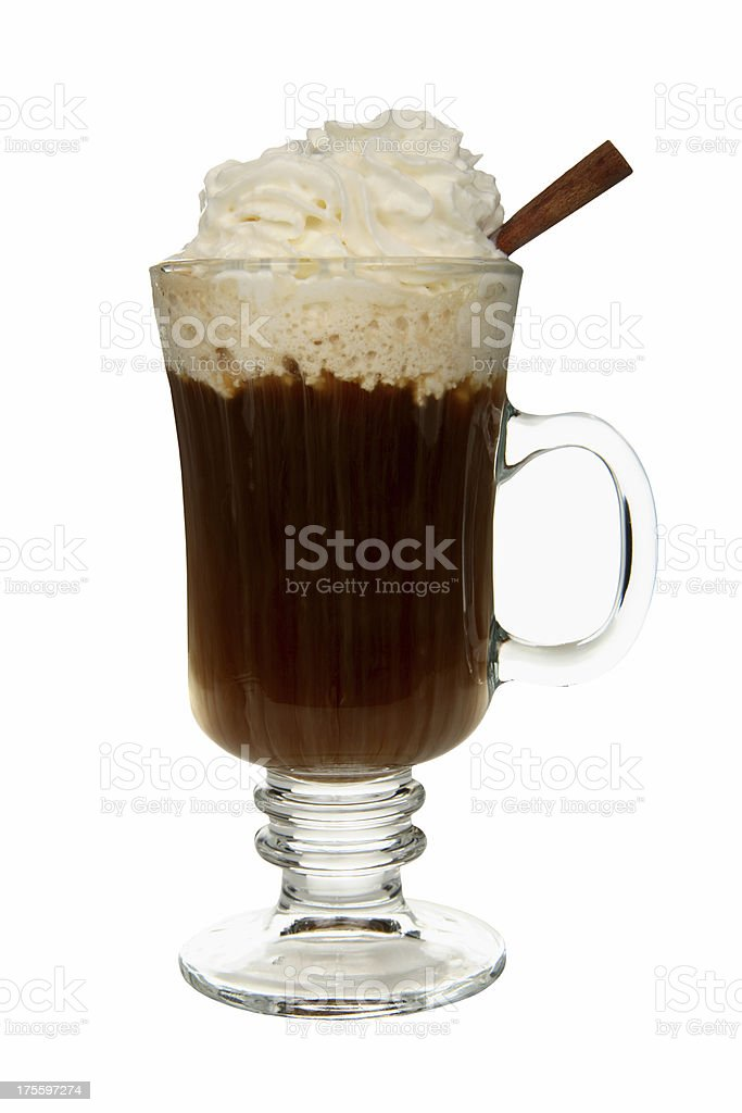 Cocktails on white: Irish Coffee. royalty-free stock photo