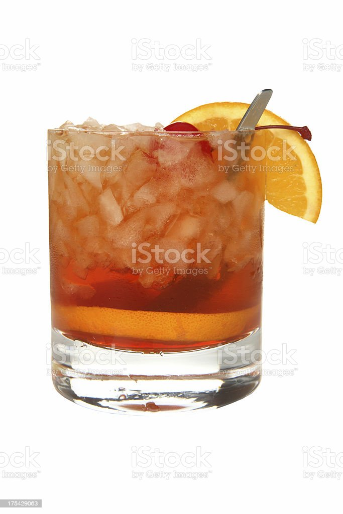 Cocktails on white: Old Fashioned. stock photo