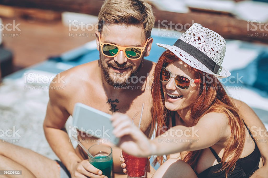 Cocktails selfie stock photo
