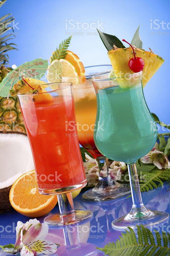Cocktails series - Mai Tai, Blue Hawaiian and Hurricane stock photo