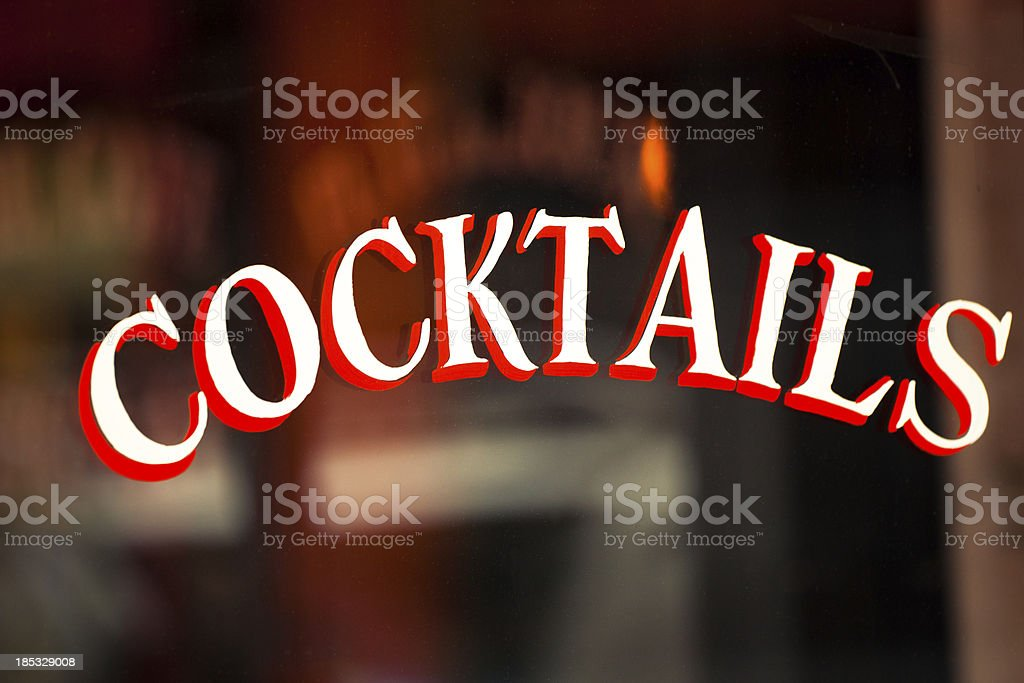 Cocktails Sign at a Typical French Cafè, Paris stock photo