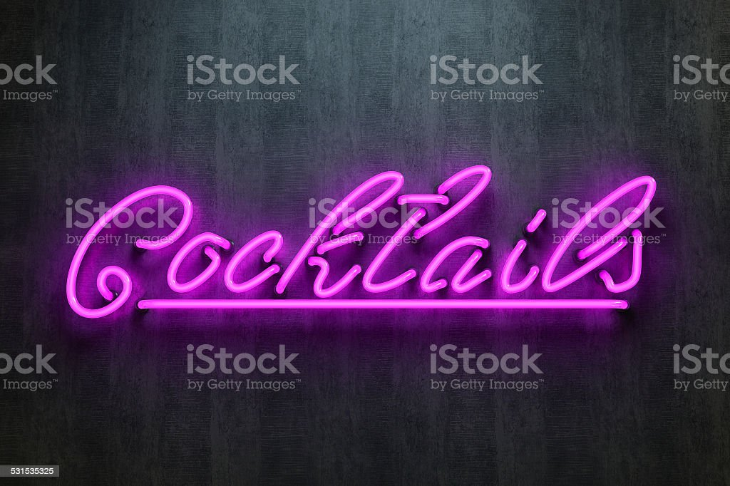 Cocktails sign neon lettering stock photo