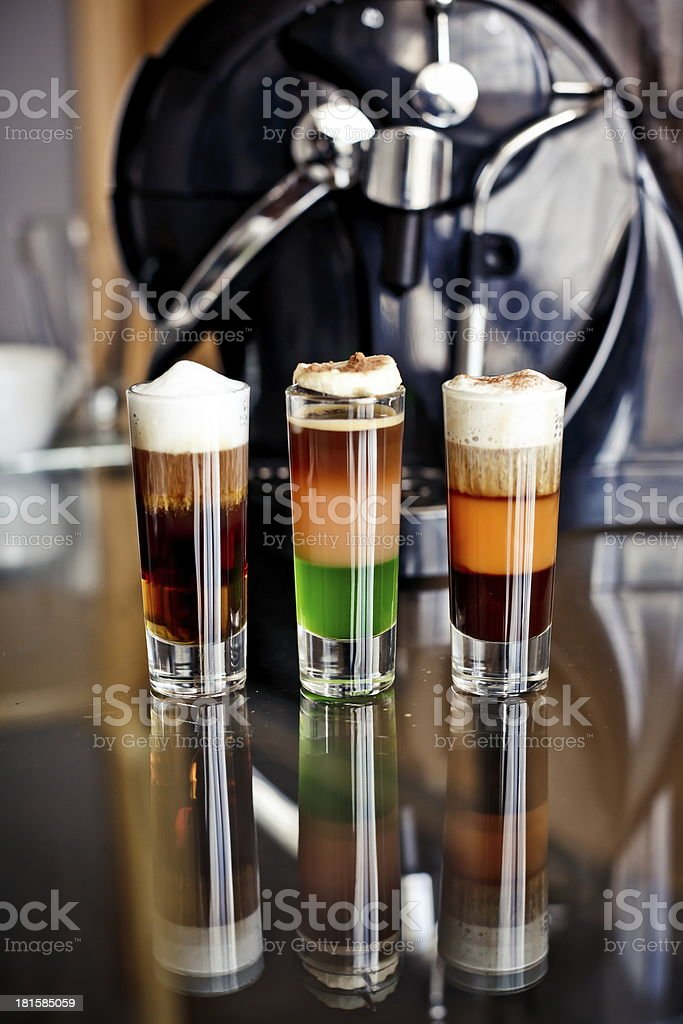 Cocktails with coffee liqueur royalty-free stock photo