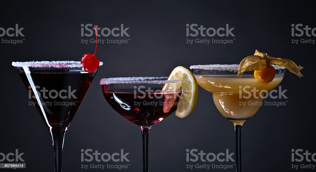 cocktails with fruits on a dark background stock photo