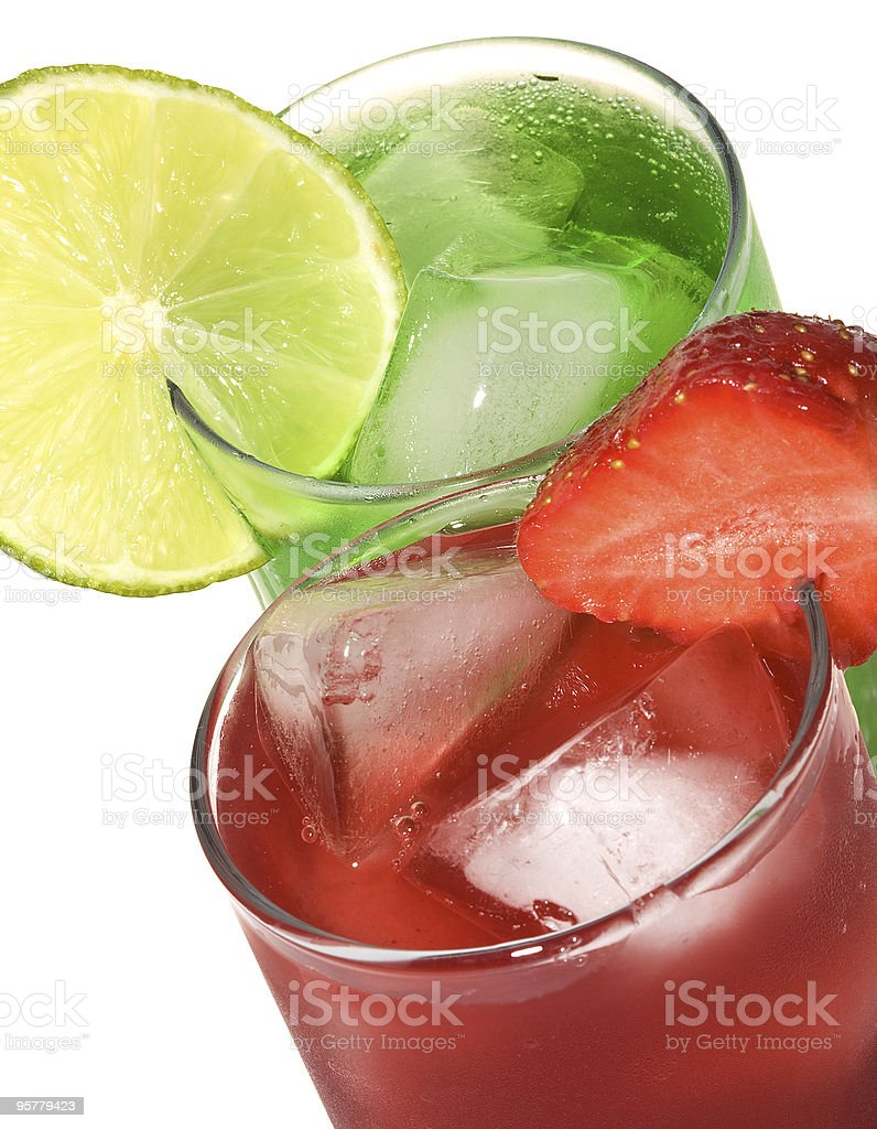 Cocktails with lime and strawbbery stock photo