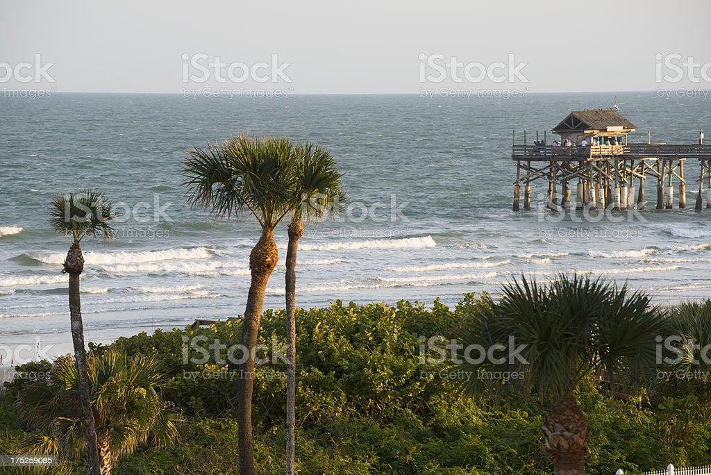 Cocoa Beach Pier and Atlantic Ocean stock photo