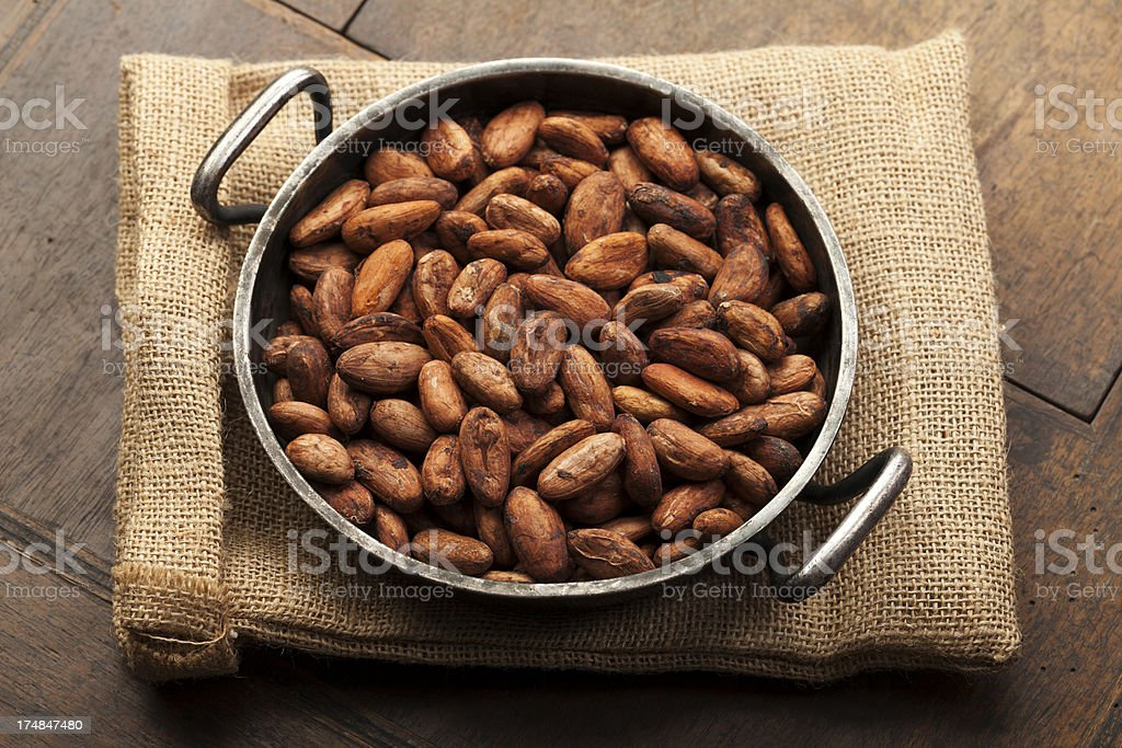 Cocoa Bean in Pan on Burlap royalty-free stock photo