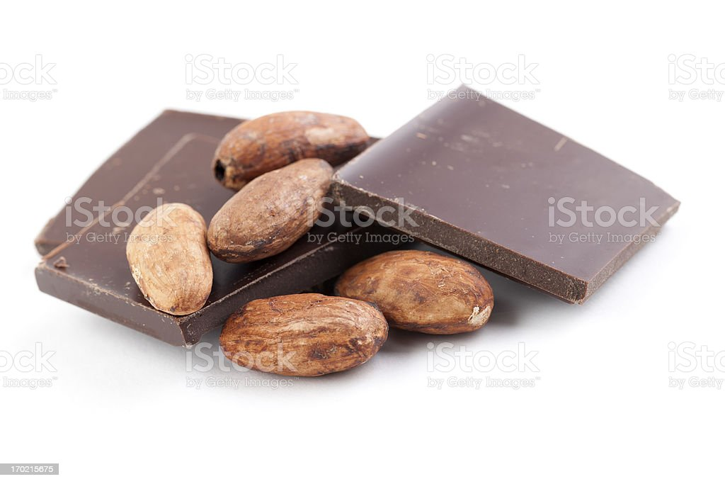 Cocoa Bean with Chocolate stock photo