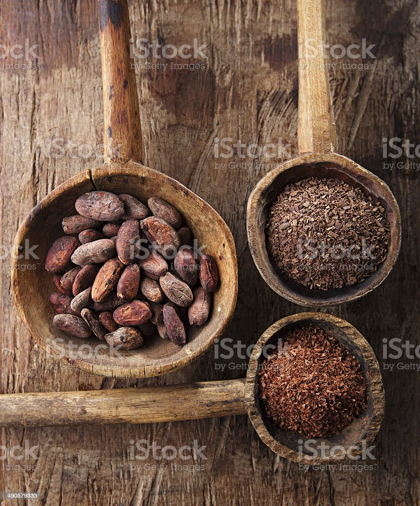 cocoa beans, hot chocolate flakes and grated dark stock photo