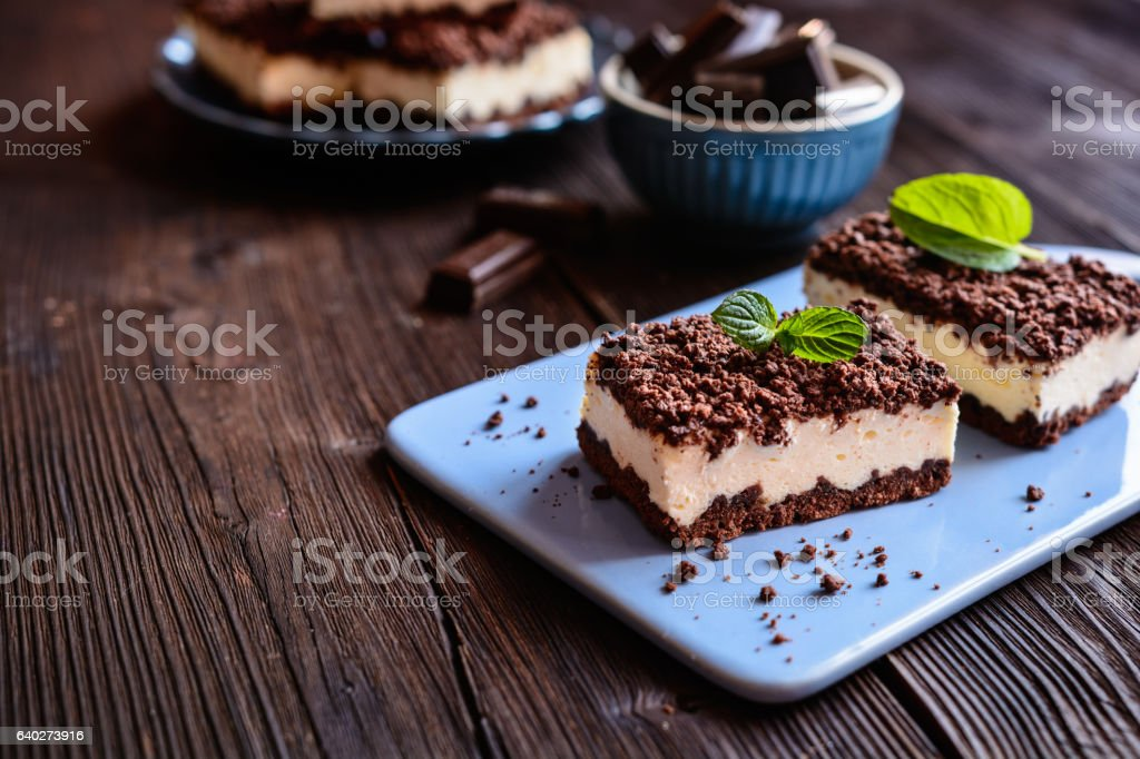 Cocoa cake with cottage cheese stock photo