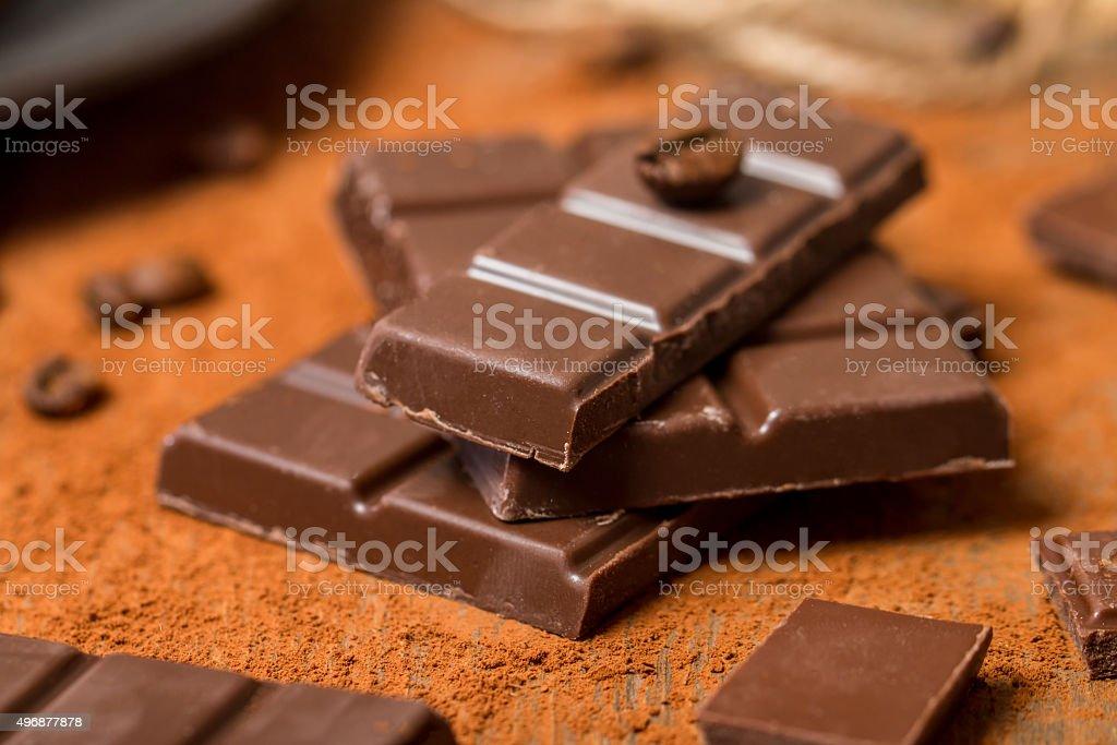 Cocoa Powder and Dark Chocolate stock photo