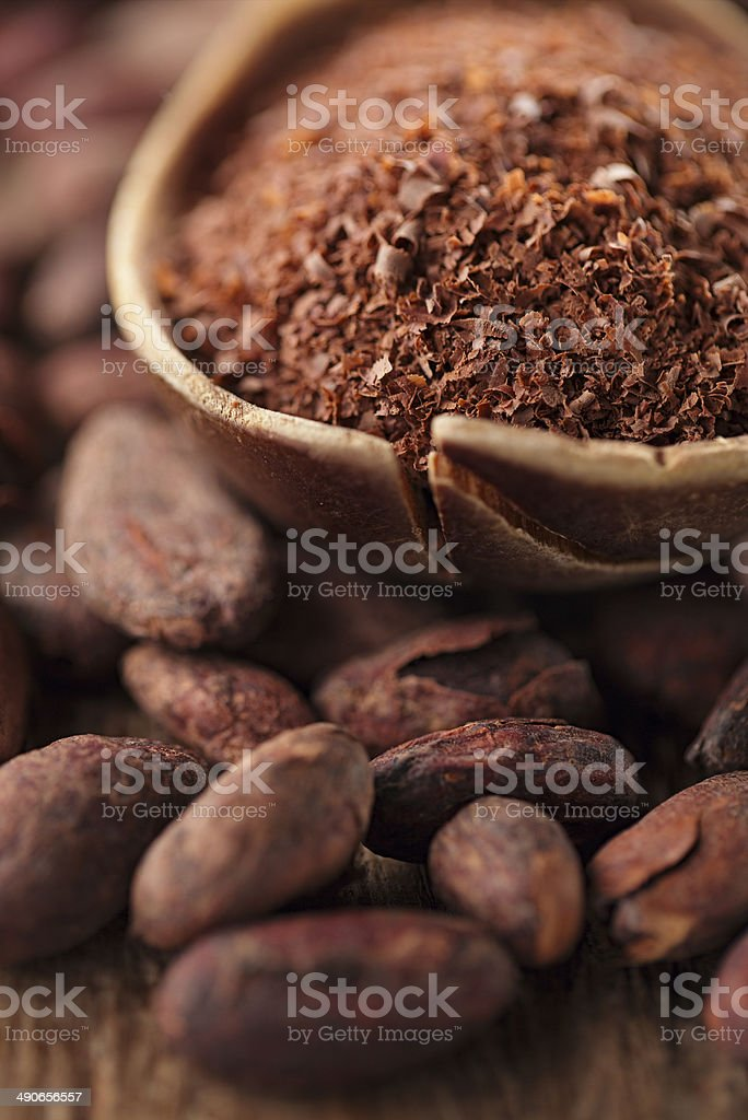 cocoa powder in spoon on roasted chocolate beans stock photo