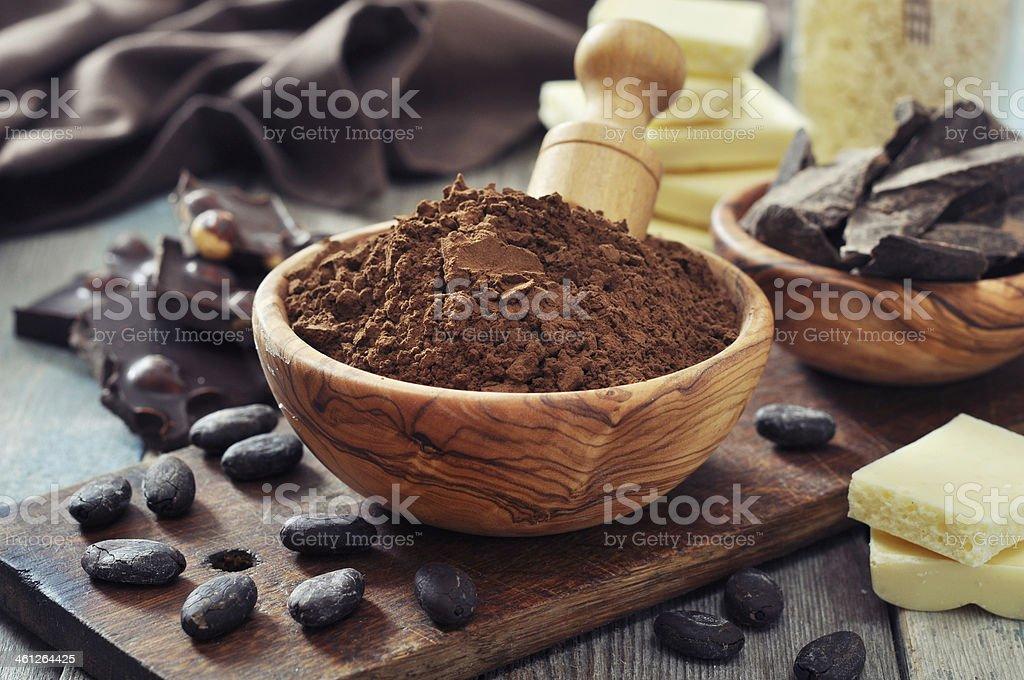 Cocoa powder stock photo