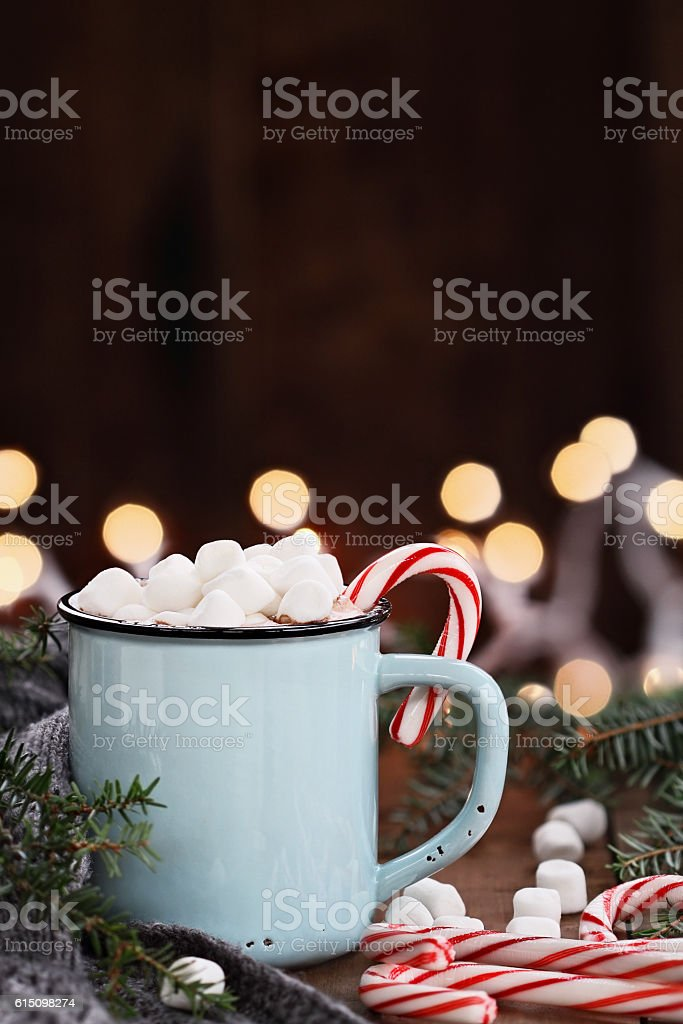 Cocoa with Marshmallows and Candy Canes stock photo