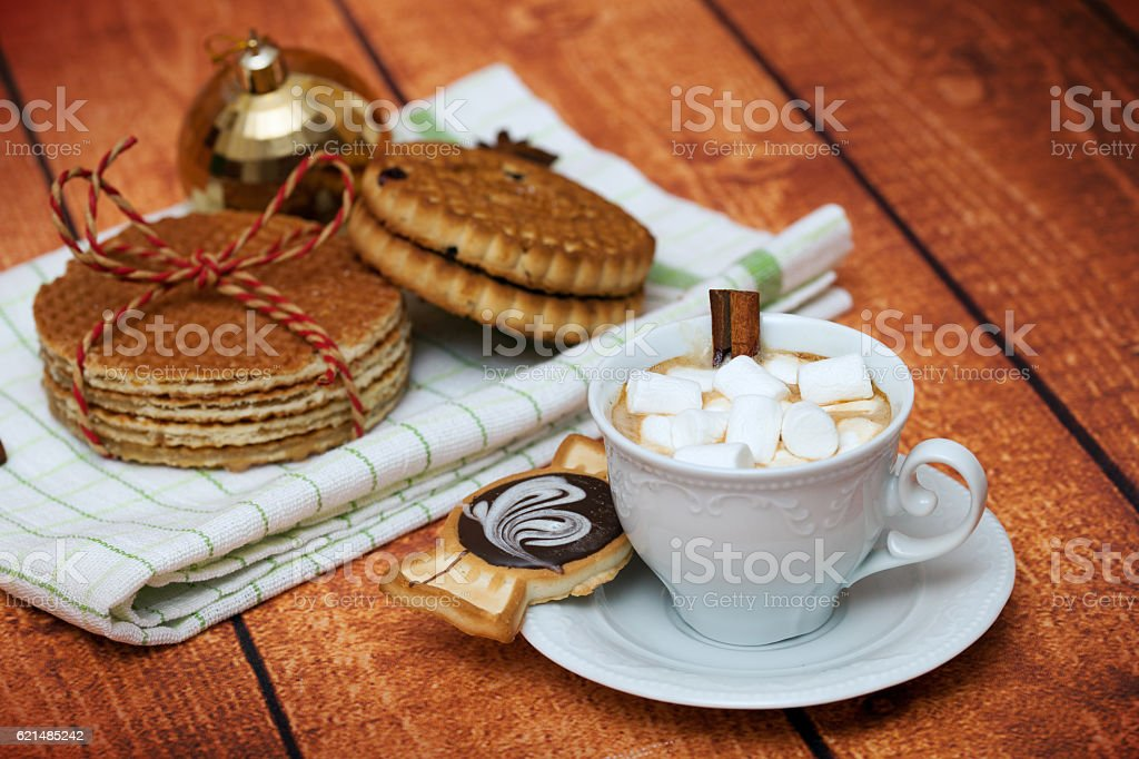 Cocoa with marshmallows, cookies and waffles stock photo