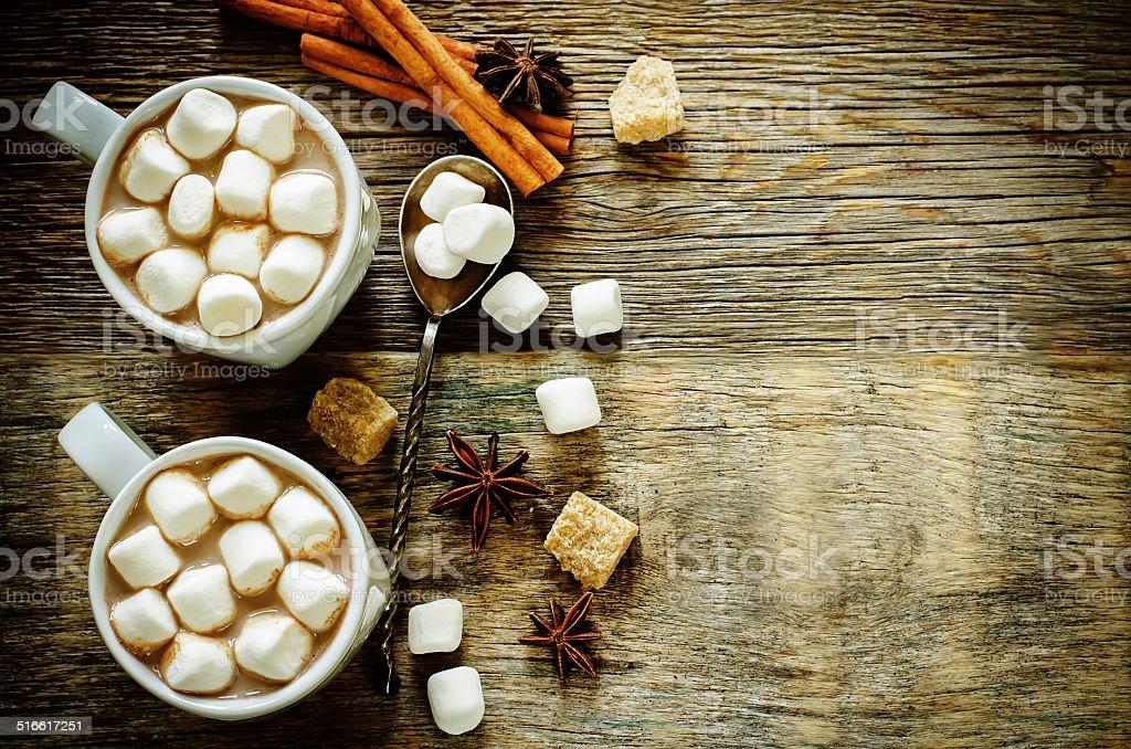 cocoa with marshmallows stock photo