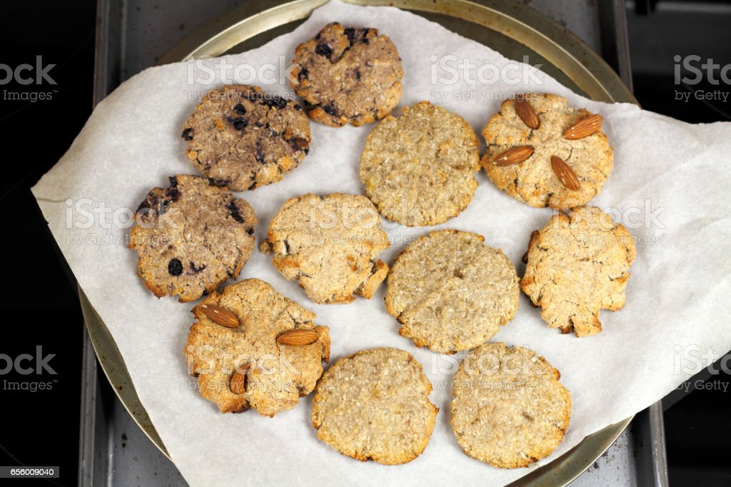 Cocoanut Cookie Variety on Parchment Paper stock photo