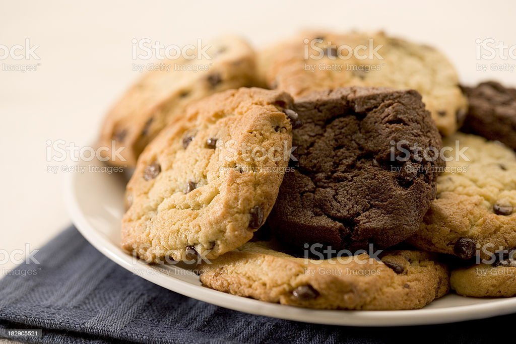 Cocolate Chip Cookies on a plate royalty-free stock photo