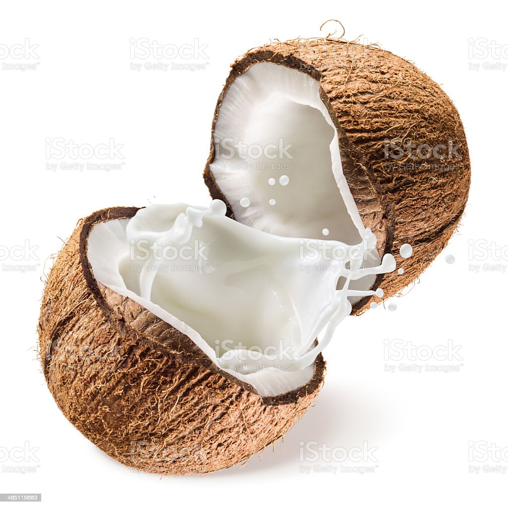 Coconut and a half with milk splash on white background stock photo