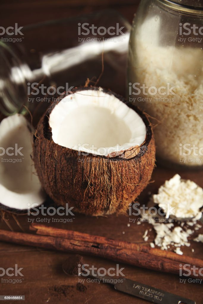 Coconut and cinnammon smoothie set stock photo