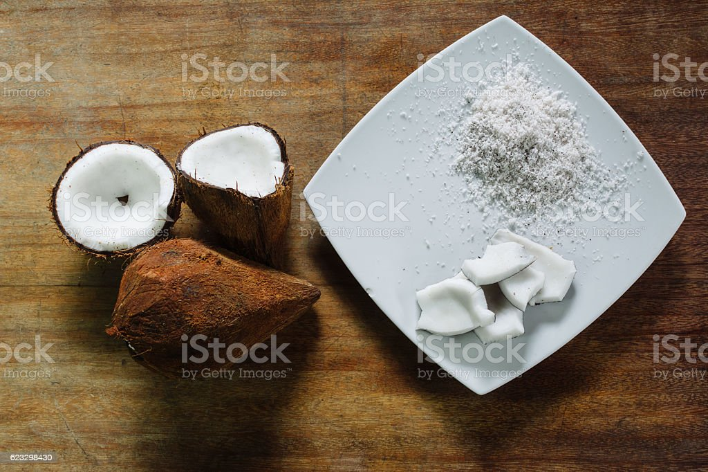 Coconut and coconut grated stock photo
