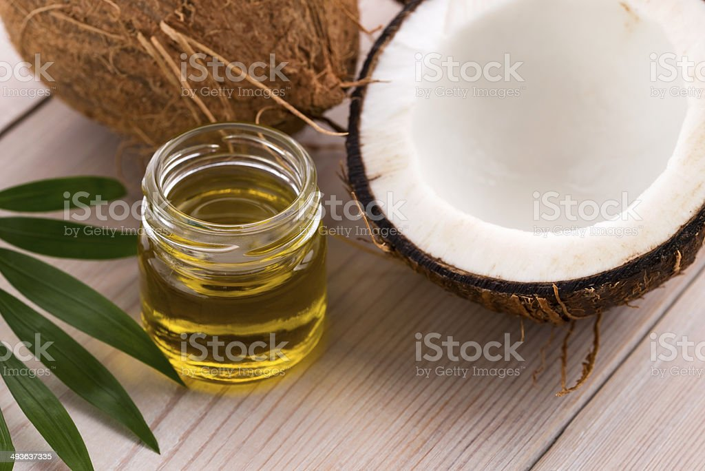 Coconut and coconut oil stock photo