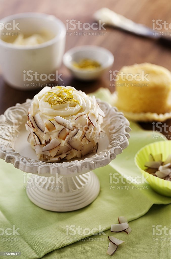 Coconut and Lime Cupcake royalty-free stock photo
