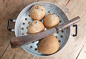 coconut and machetes in autoclave stainless