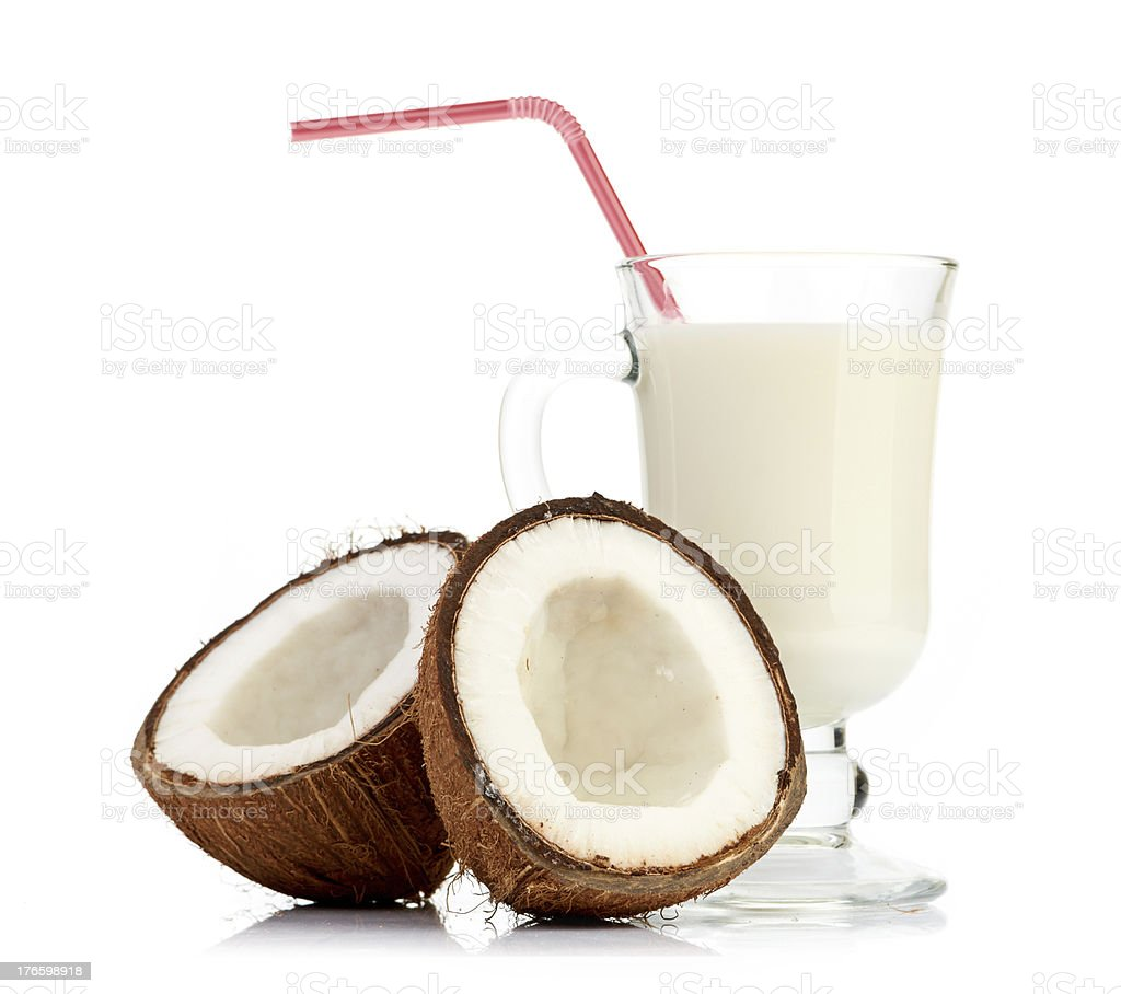 coconut and milk glass royalty-free stock photo