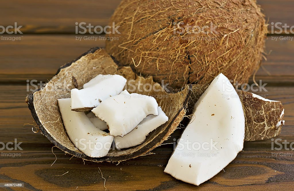 Coconut and pieces of coconut royalty-free stock photo