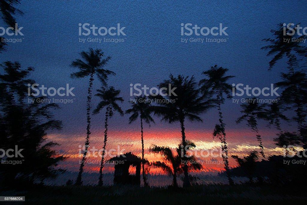 Coconut beach sunrise. Extrude background. stock photo