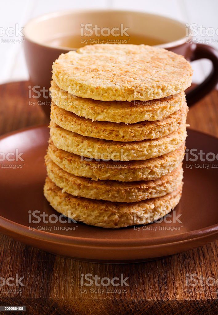 Coconut biscuits and cup of tea stock photo