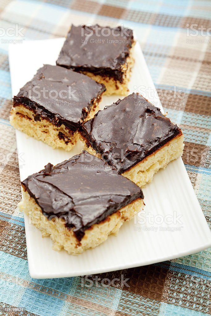 Coconut cake with chocolate royalty-free stock photo