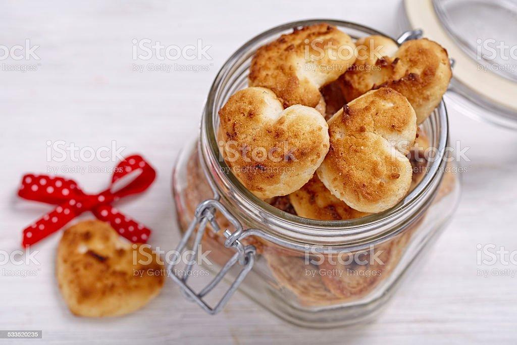 Coconut cookies heart shape stock photo