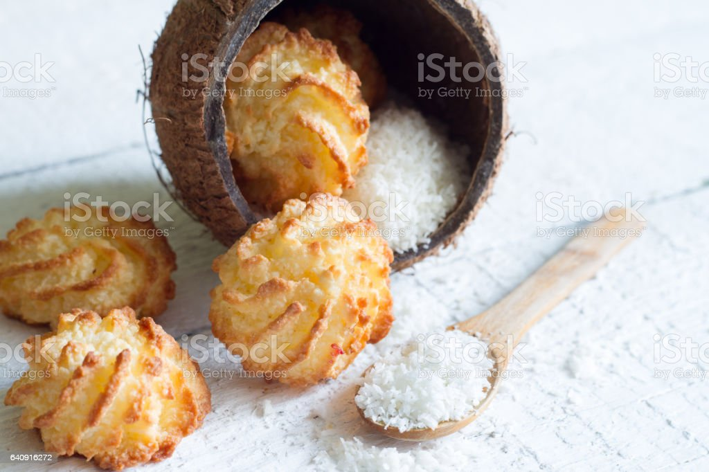 Coconut cookies macarons with copra stock photo